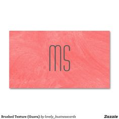 Brushed Texture (Guava) Business Card #monogram #businesscards #jobs #career #monogrambusinesscards #pink #businessowner #professionals