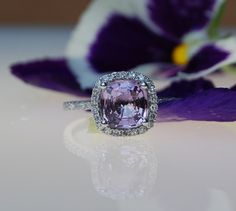 1.82ct Lavender violet cushion sapphire ring diamond ring engagement ring. $2,000.00, via Etsy. But pink!!!!!