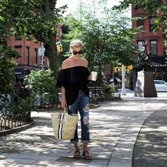 Pin for Later: 19 Easy Summer Outfits You Already Have in Your Closet A Breezy Top and Distressed Jeans
