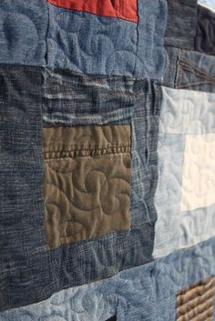Recycled denim quilt, memory quilt from jeans