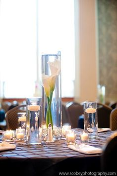 Centerpiece Featuring Sunken Calla Lilies. It looks fabulous with a floating candle on top.