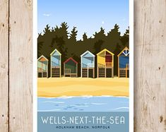 Holkham Beach Huts Wells-next-the-Sea. Travel poster   Etsy Wells Next The Sea, Images Of England, Norfolk House, Sea Art, Going On Holiday, Dog Walking, Landscape Art, Travel Posters, Trip Planning