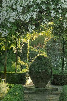 Ahhhh morning light in a formal garden my favorite.  - Sissinghurst, White Garden