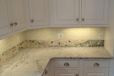 Nautical backsplash border with dragonflies, crabs, starfish, glass, pebbles, stone mosaics to create a flowing design suitable for a lake, pond, or ocean / beach house. Contrasts well with the white tumbled carrara mini brick tile and Paradiso Granite countertops! #wetdogtile