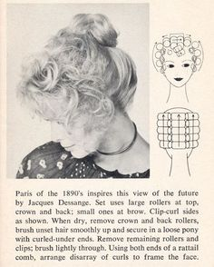 Vintage updo  hairstyle with roller setting pattern.