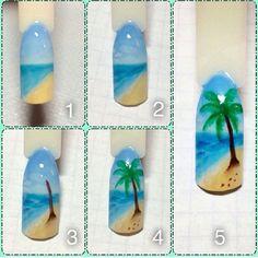 Nail designs here! Nail Art Hacks, Gel Nail Art, Beach Themed Nails, Sponge Nail Art, Beach Nail Art, Sea Nails, Nail Drawing, Diy Nail Designs, Rainbow Nails