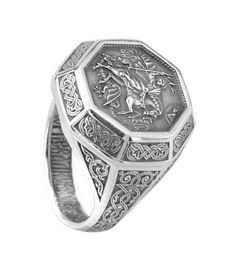 Ring Details:  Inscription in Slavic/Cyrillic inside the band: Свети Георги Победоносец (St. George the Conqueror)  Available in US Ring Size : 7 /7.5/ 8/ 8.5/ 9/ 9.5 / 10/ 10.5/ 11  Weight: 12 grams  Top Part Size: 20.23 mm (0.79 ) - 19.20 mm (0.75)  Material: Sterling Silver, .925, stamped 925, oxidized front and back  In perfect NEW, ready to wear condition  Theme: Ring Front is detailed engravings of Saint George slaying the Dragon on his horse, Ring Back is detailed engravings of a…