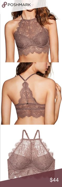 36D/34DD PINK Eyelash Lace High-Neck Bralette A sheer lace neckline and racerback make this push-up bralette a total must-have for Spring Break. Wear it on its own with high-waisted bottoms or layer it under a cute tank!     Most push Pull On Fit High neck top Underwire cups Scalloped lace Adjustable straps Imported polyamide/spandex PINK Victoria's Secret Intimates & Sleepwear Bras