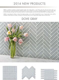 "AKDO -  1""x4"" Glass tile in Herringbone pattern. Available at #davincimarble"