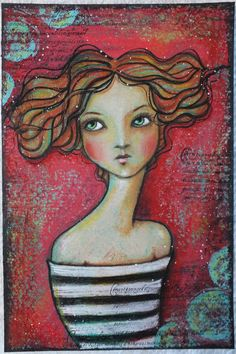 """Original OOAK 4 x 6 Mixed Media acrylic colored pencil """"Flow"""" A Kennedy portrait woman red teal stripes"""