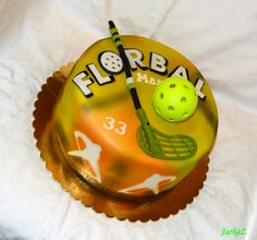 sports cake - floorball - torta pre florbalistu Sport Cakes, Mini Tart, Cupcakes, Cakes And More, Fondant, Happy Birthday, Bmx, Cooking, Desserts