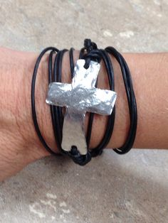 Primitive Silver Cross with Black Leather Wrap Bracelet.  Item #BSLC  Available at Impulse Gifts 812.481.2880 We ship daily.   https://www.facebook.com/ImpulseJasper