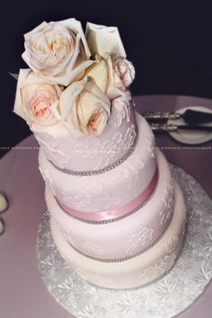 4 tier hand piped brushed embroidery cake.  www.taylorcakes.com