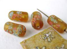 Vintage Glass Beads Matte Golden Flower Millefiore