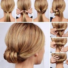 Lulus How-To: Low Rolled Updo Hair Tutorial Need to get party-ready in a pinch? Or maybe you're in need of a new look for that upcoming dinner party? Our Low Rolled Updo is just the thing! Lazy Girl Hairstyles, Step By Step Hairstyles, Cool Hairstyles, Hairstyle Ideas, Brunette Hairstyles, Casual Hairstyles, Hairstyles 2018, Interview Hairstyles, Wedding Hairstyles