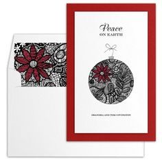 Patchwork Poinsettia Doodle Ornament Holiday Card by Luscious Verde
