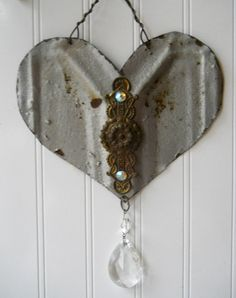 Antique Tin Tile Heart