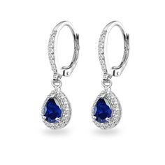 c4359b96a Earrings, Drop & Dangle, Sterling Sapphire Teardrop Leverback Earrings  - Created Blue Sapphire