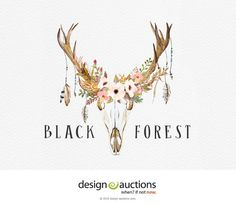 Premade Logo DIY Instant Download Logo Design Antler Logo Floral Deer Logo Photoshop