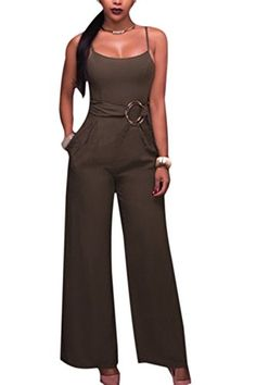 38896e34286 Zuvebamyo Womens Elegant Backless Spaghetti Straps Long Wid Pants Romper  Jumpsuits