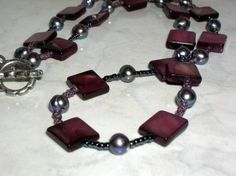 Purple square shell beads necklace with gray freshwater pearls...Artfire