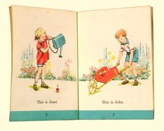 Janet and John books. My first school books! - but also remembering Terry Wogan and lots of giggles! 1970s Childhood, My Childhood Memories, Illustrations, Children's Book Illustration, Janet And John Books, Ladybird Books, Vintage Children's Books, My Memory, Old Toys