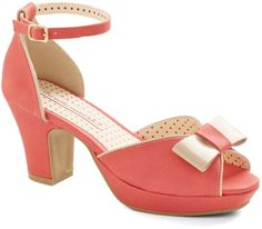 Bowed and Boating Heel in Grapefruit from Modcloth