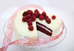 Ingredients: For biscuit: - 4 eggs - of sugar - 60 g of flour - of starch - 30 g of cocoa g melted butter red food colo Velvet Cake, Red Velvet, Valentines Food, Easy Cake Recipes, No Bake Cake, Beautiful Cakes, Cheesecake, Deserts, Good Food