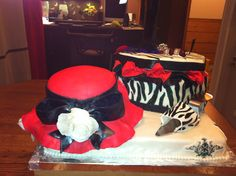 Red hat cake and zebra shoe box