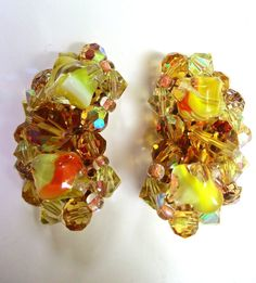 Muti Color Givre AB Rhinestone Earrings Orange by RenaissanceFair