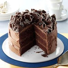 Sour Cream Chocolate Cake. Wonderful moist cake. I substituted 2 2/3 cups all purpose flour for the 3 cups of cake flour and it turned out great. Didn't try the frosting. Just used a whipped buttercream.