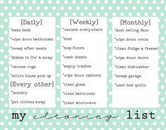 Pretty chore chart