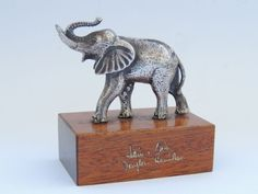 Vintage German Antique Statue Solid SilverPlated Elephant Figure Figurine Marked