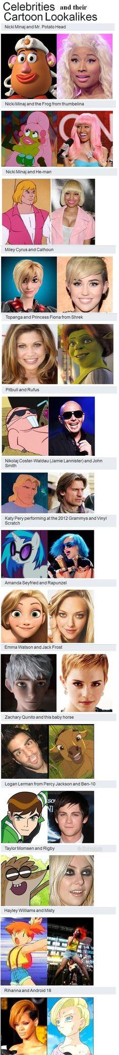 Celebrities and their cartoon look alikes