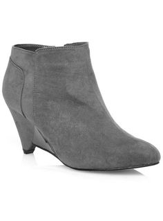 CHIC!!! Evans Grey Demi Wedge Ankle Boots - Ankle Boots  - Shoes