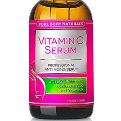 awesome Pure Body Naturals - THE BEST ORGANIC Vitamin C Serum for Face. 20% Vitamin C + E + Hyaluronic Acid Serum. #1 Anti Aging Serum Moisturizer with Natural Ingredients, Organic Aloe + Amino Blend. Professional Anti Wrinkle Serum & Facial Skin Care Shown to Boost Collagen, Repairs Sun Damage, Dark Circles, Fades Sun & Age Spots & Reduces Fine Lines. Leaves Firm, Radiant, Beautiful, Youthful & Glowing Skin, 1 Ounce
