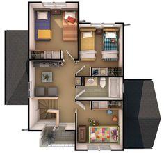 casa de dos pisos de 110 m2, plano segundo piso