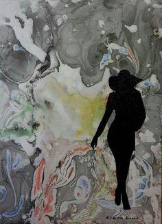 Autore. Nicola soriani  Senza titolo  Anno. 2015 Tecnica. Olio su tela , sfondo eseguito con tecnica EBRU DIMENSIONI.  30 X 40 CM