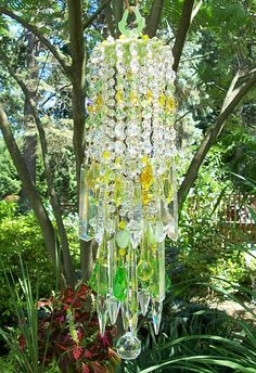 Green chartreuse Waterfall Antique Crystal Wind Chime by sheriscrystals.