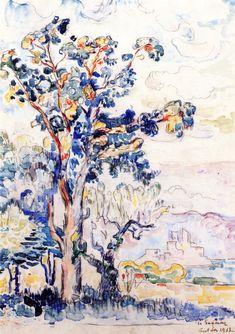 Paul Signac, The Eucalyptus Tree, watercolor & charcoal on paper, 1913 Signac's Colorful Watercolor Trees | Paint Watercolor Create