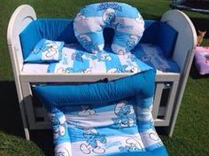 Smurfs cot set Cot Sets, Baby Crib Bedding Sets, Project Nursery, How To Make Bed, Little Ones, Cribs, Smurfs, Rooms, Amazing
