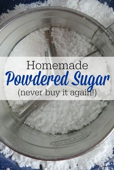 Making your own homemade powdered sugar is one of the easiest things you will ever do in the kitchen! Never buy it again! Making your own homemade powdered sugar is one of the easiest things you will ever do in the kitchen! Never buy it again! Homemade Dry Mixes, Homemade Spices, Homemade Seasonings, Homemade Baking Powder, Homemade Things, Make Powdered Sugar, Powdered Sugar Substitute, Frosting Without Powdered Sugar, Make Brown Sugar