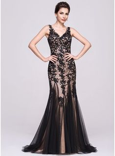fc2c7f93878 Trumpet Mermaid V-neck Sweep Train Tulle Evening Dress With Appliques Lace  Mermaid Prom
