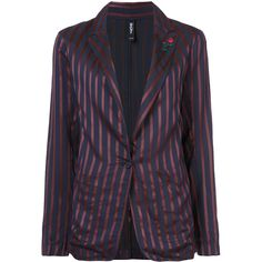 Adam Selman striped blazer ($675) ❤ liked on Polyvore featuring outerwear, jackets, blazers, blue, blue blazer jacket, blue jackets, stripe jacket, blue blazers and stripe blazer
