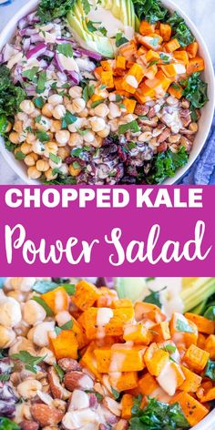 This Chopped Kale Power Salad is satisfying, delicious and filling! It's loaded with tons of healthy ingredients and topped off with an easy creamy lemon tahini dressing. It keeps well in the refrigerator and is perfect for a meal prep lunch or potluck side dish. Great for dinner too! #powersalad #kalesald #vegansalad #choppedsalad Main Dish For Potluck, Potluck Side Dishes, Main Dish Salads, Dinner Salads, Healthy Side Dishes, Healthy Food Choices, Healthy Salad Recipes, Healthy Meals, Vegan Recipes
