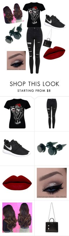 """""""Black"""" by janellewilson1234 on Polyvore featuring Topshop, NIKE, Yves Saint Laurent, women's clothing, women's fashion, women, female, woman, misses and juniors"""