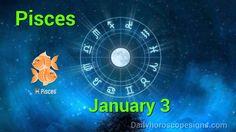 Pisces Daily Horoscope: January 3, 2015 Sagittarius Horoscope Today, Sagittarius Daily Horoscope, Aquarius Daily, Daily Love Horoscope, Cancer Horoscope, Astrology, Horoscopes, Youtube, January 11