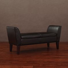 Drake Dark Brown Leather Bench   Overstock.com