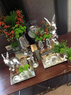 easter decoration, silver rabbits, silver vases, green flowers, details by Filipa Pereira - Penha Longa Hotel