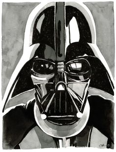 ARTFINDER: Star Wars - Darth Vader - Original In... by Matthew Soffe - This is an ink and acrylic drawing of The Dark Lord of The Sith himself, Darth Vader.  Drawn on 200gsm cold-pressed acid-free watercolour paper, using Dale...